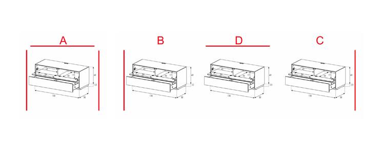 EX10-FD - Lowboard mit Klapptür und Schublade