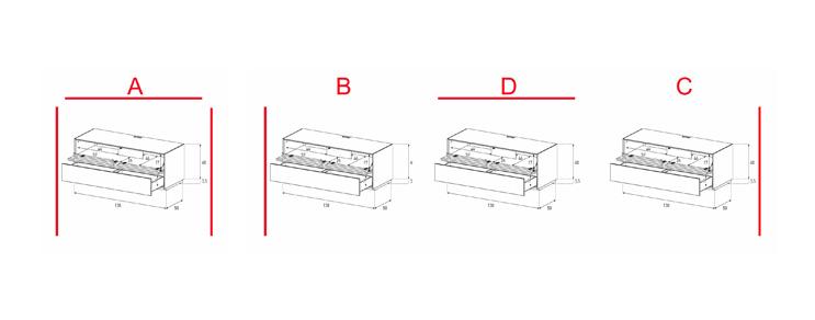 EX10-TD - Lowboard mit Klapptür Textil /Schublade