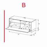 Lowboard Sonorous Elements EX10-F-B - TV-Möbel mit Klapp-Tür / kombinierbar