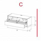 Lowboard Sonorous Elements EX10-TD-C - TV-Möbel mit stoffbezogener Klapp-Tür und Schublade / kombinierbar