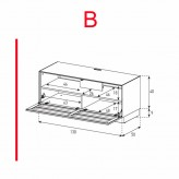 Lowboard Sonorous Elements EX10-TS-B - TV-Möbel mit stoffbezogener Klapp-Tür / kombinierbar