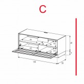 Lowboard Sonorous Elements EX10-TS-C - TV-Möbel mit stoffbezogener Klapp-Tür / kombinierbar