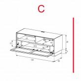Lowboard Sonorous Elements EX50-TS-C - TV-Möbel mit stoffbezogener Klapp-Tür / kombinierbar